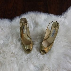 Jimmy choo open toe gold heels made in italy 44.5